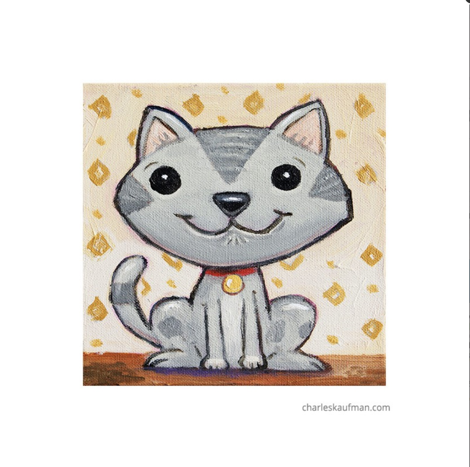 smiling grey cat - Kaufmann, Charles - k-CHK385