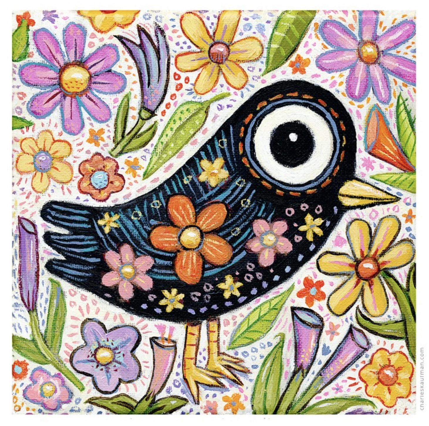Bird and spring flowers - Kaufmann, Charles - k-CHK390