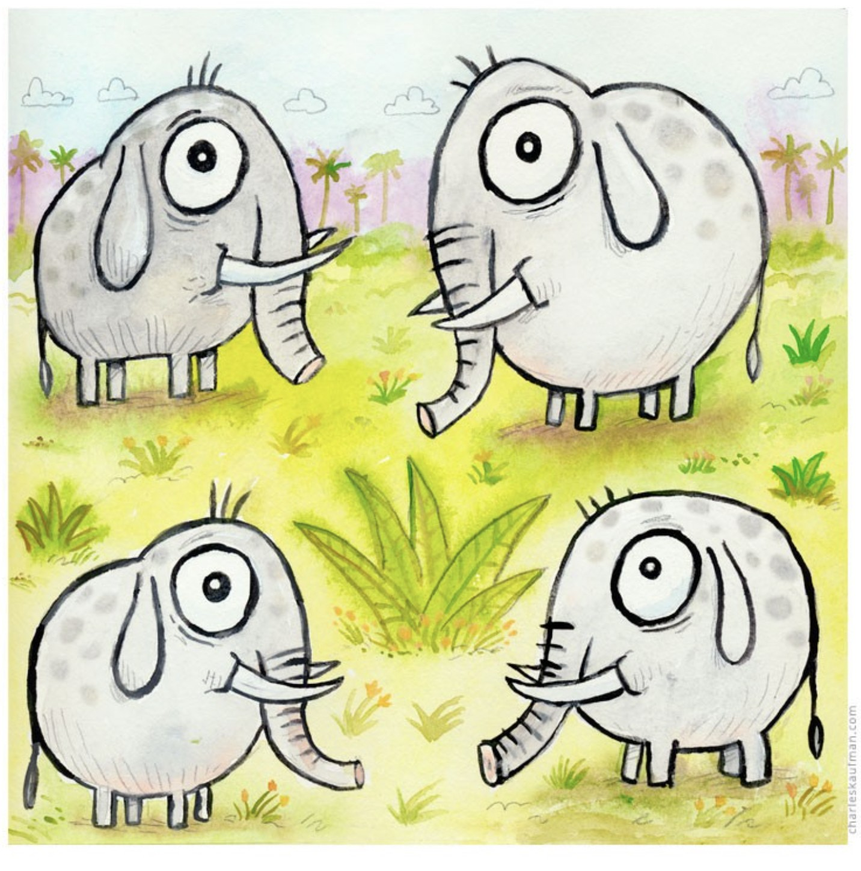 four happy elephants - Kaufmann, Charles - k-CHK400