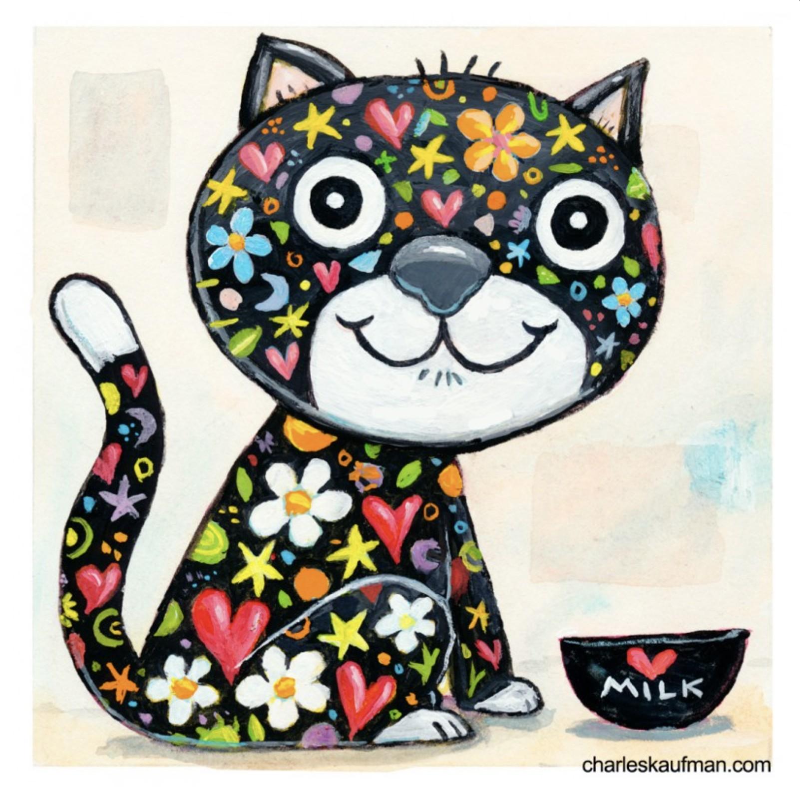 colorful black cat - Kaufmann, Charles - k-CHK401