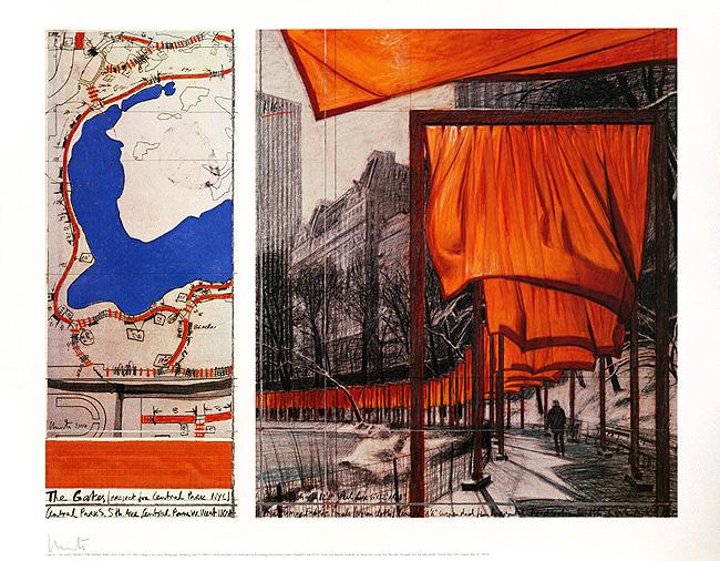 Christo: The Gates XXIII, Offsetdruck, Offset, handsigniert, 92 x 72 cm, 990 Eur