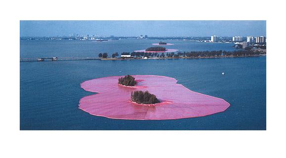 Christo and Jeanne-Claude: Surrounded Islands Miami, Original Foto v. W. Volz, 180 x 100, Auflage 25, handsigniert, nummeriert, 18.000 Eur