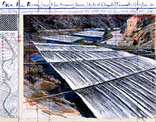 Christo: Over The River from Above, Collage 2012, Unikat, 21 x 28cm, 56.000 Eur