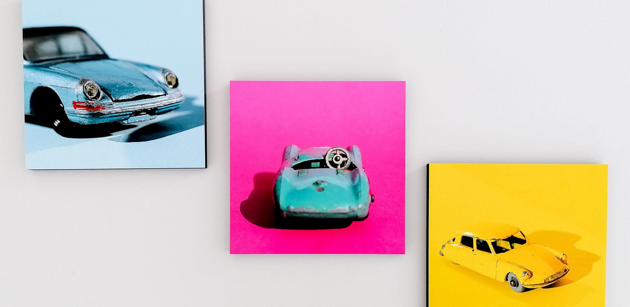 Eva Gieselberg: Candycars, verschiedene Motive, Fine Art Print auf Holz kaschiert, 30 x 30 cm, Auflage 50 Exemplare, handsigniert und nummeriert, je 179 Eur