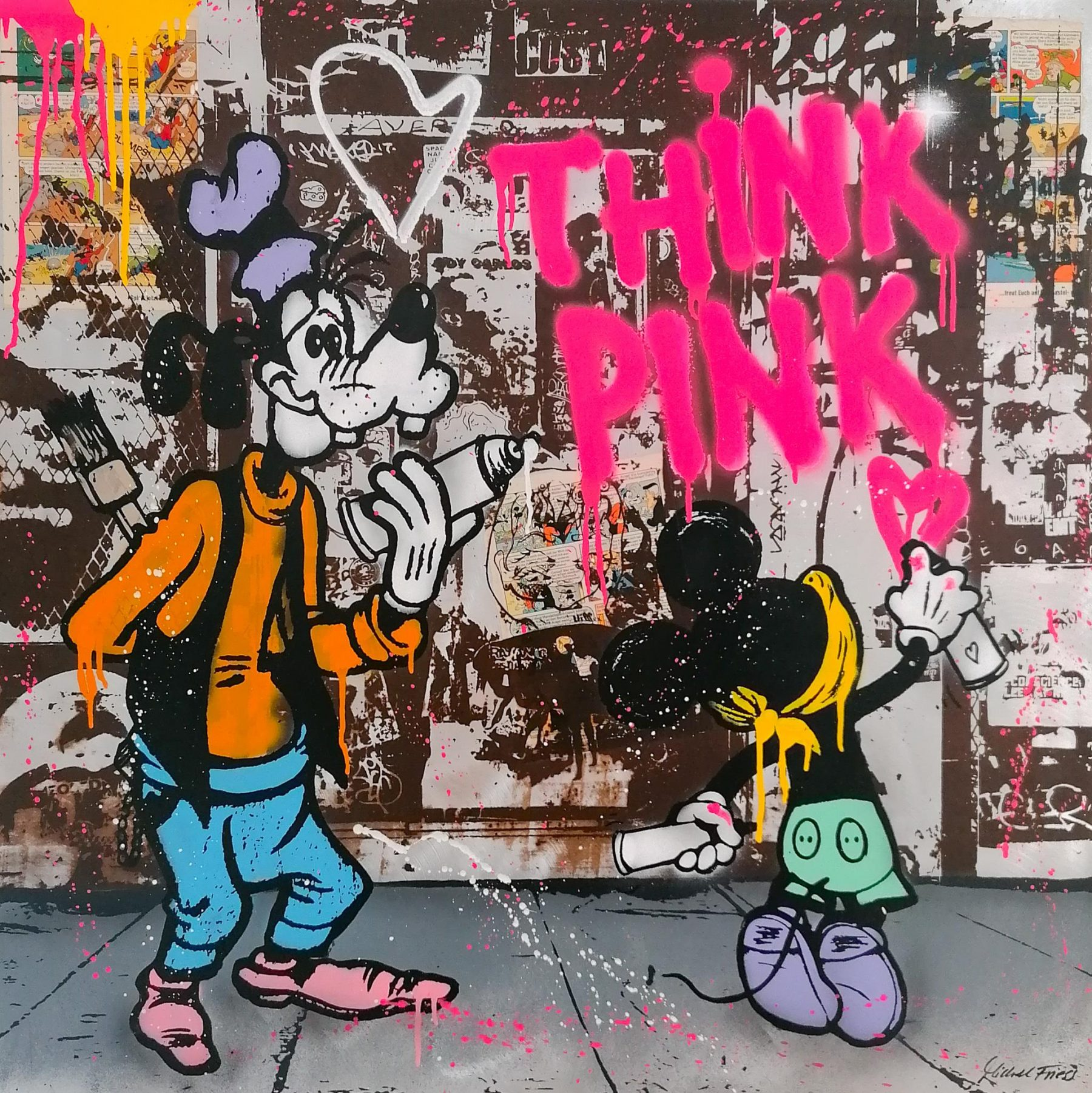Michel Friess: Think Pink, Original Collage auf Aluminium, 100 x 100 cm, Unikat, handsigniert, 3.800€