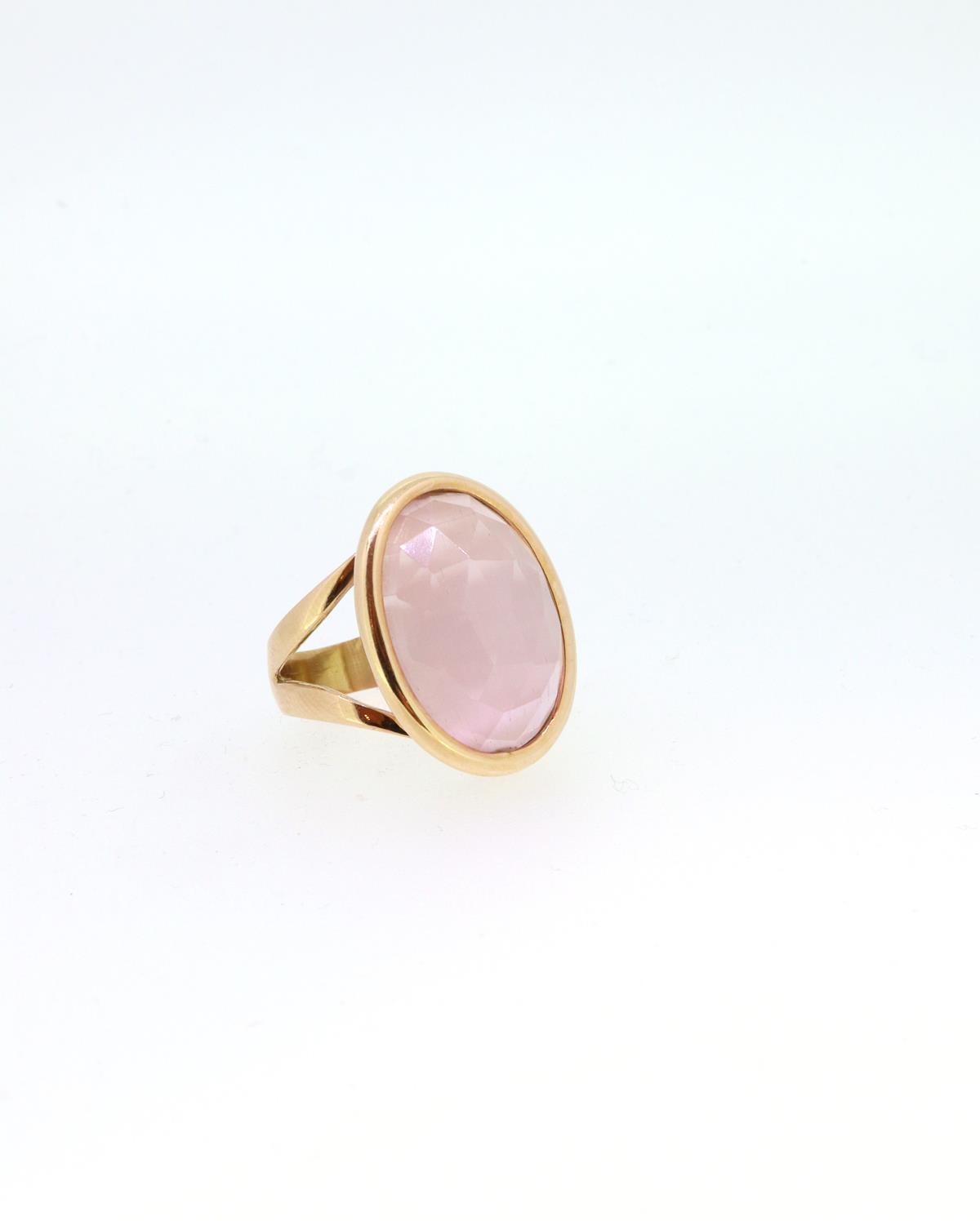 Ring 18ct Rosegold mit pink Quarz - GalerieVoigt - AN-0-893