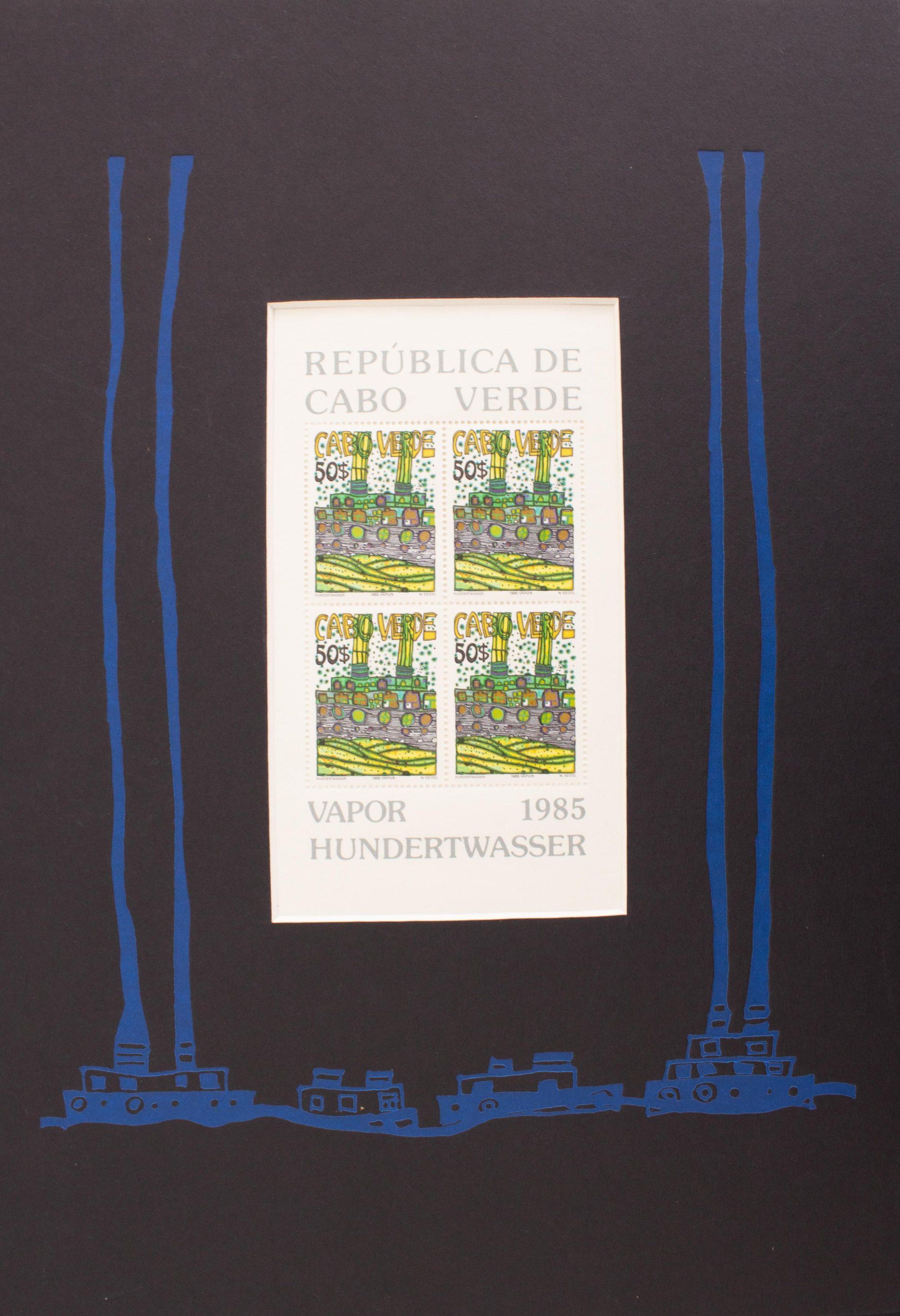 Vapor Briefmarke, PP blau - Hundertwasser, Friedensreich - k-07682