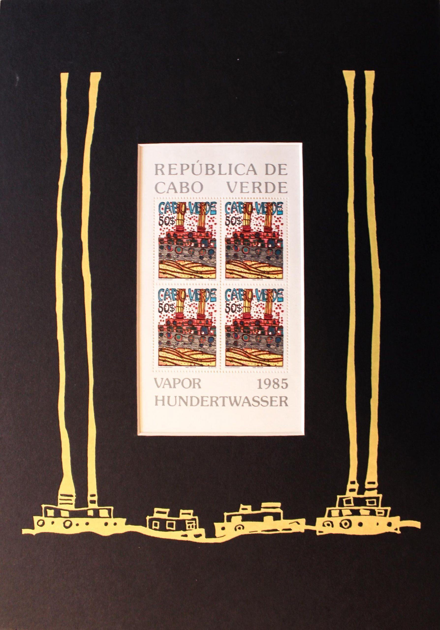 Vapor Briefmarke, PP gelb - Hundertwasser, Friedensreich - k-07686