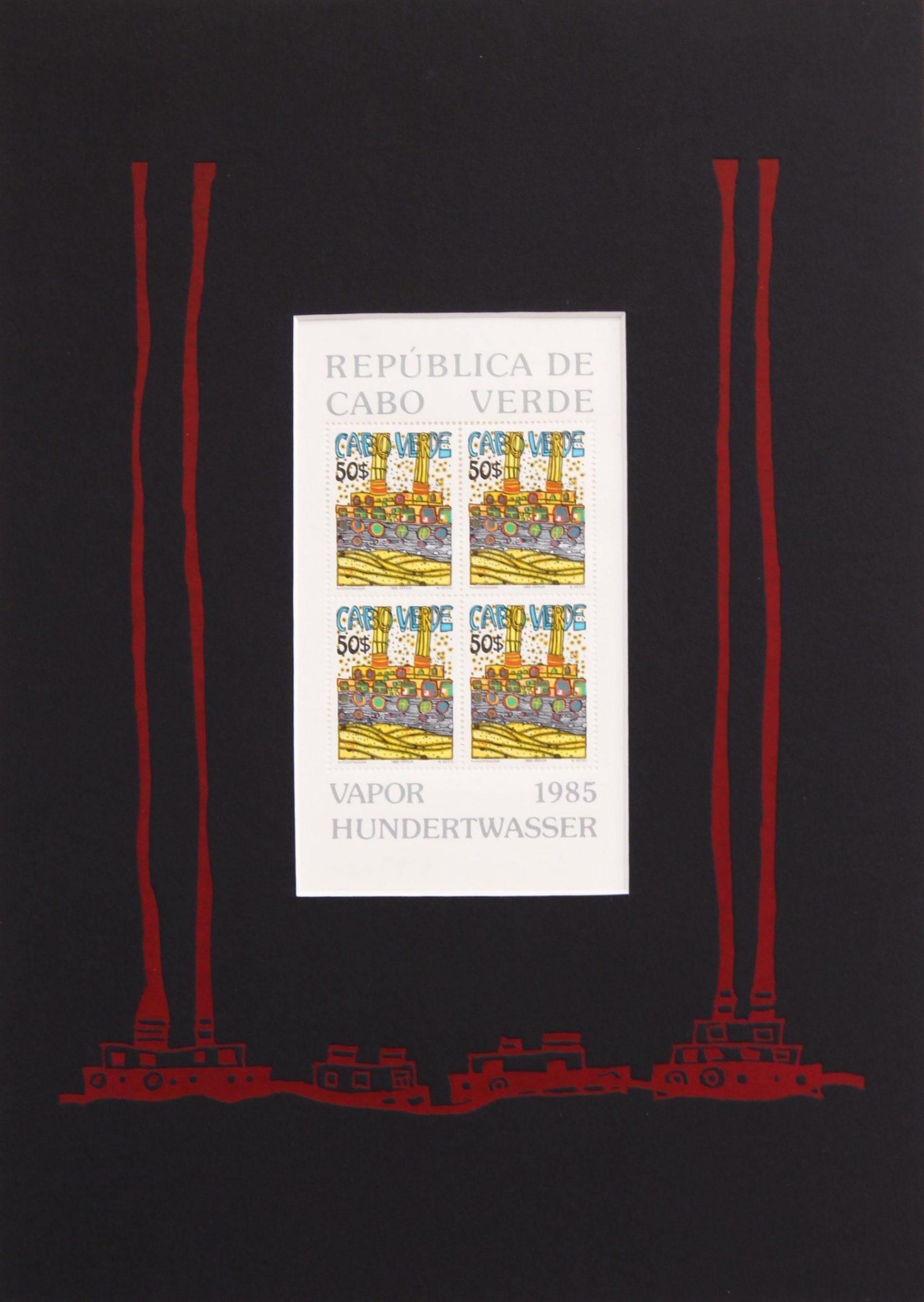 Vapor Briefmarke, PP rot - Hundertwasser, Friedensreich - k-07690