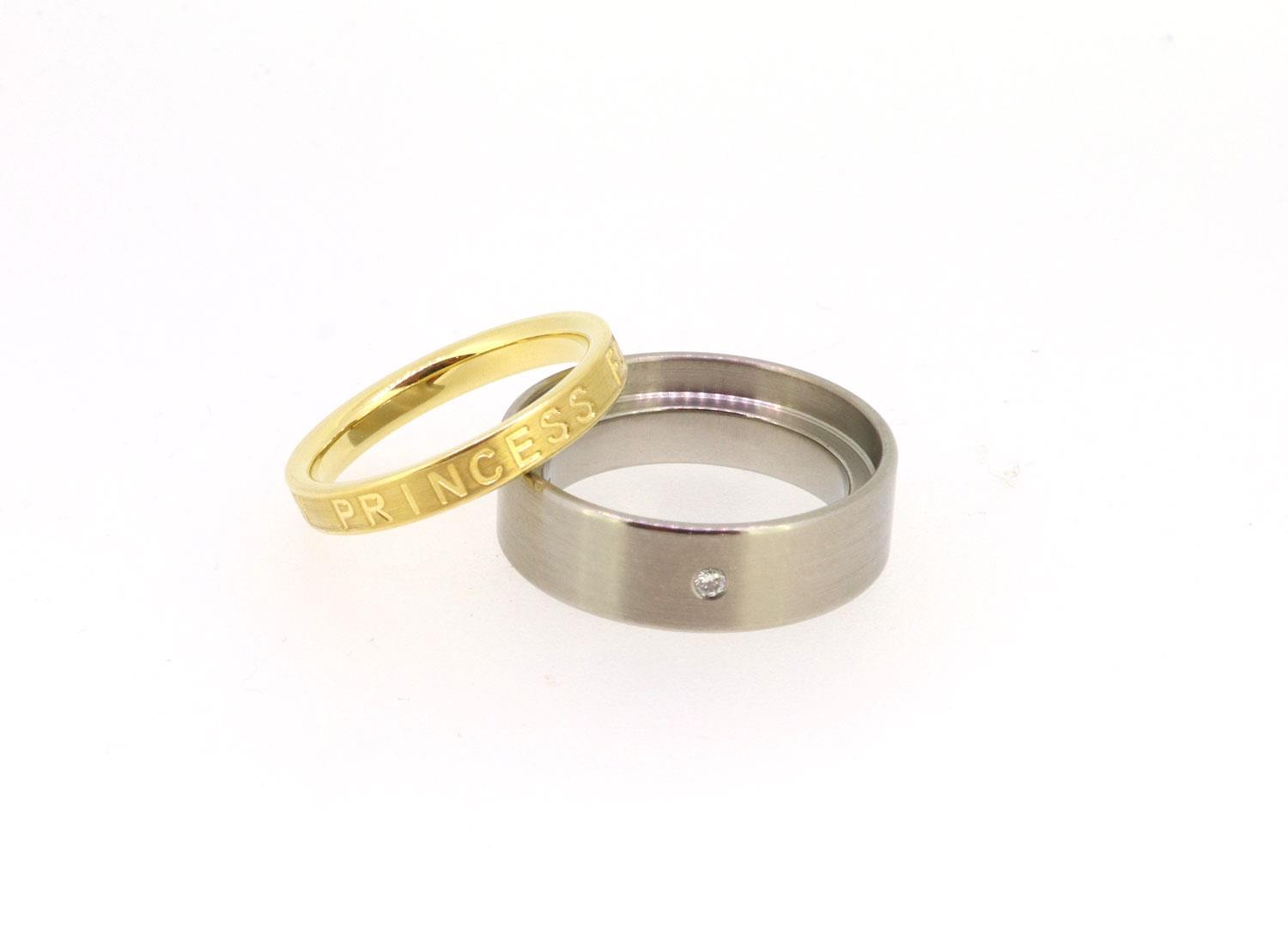 Ring 0,02ct Twinset 18ct Gelbgold Titan - Meister - 12.8755.00