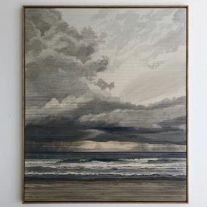 Linda Männel: Fernweh, 2020, Tusche/Garn auf Leinwand, 100 x 130 cm