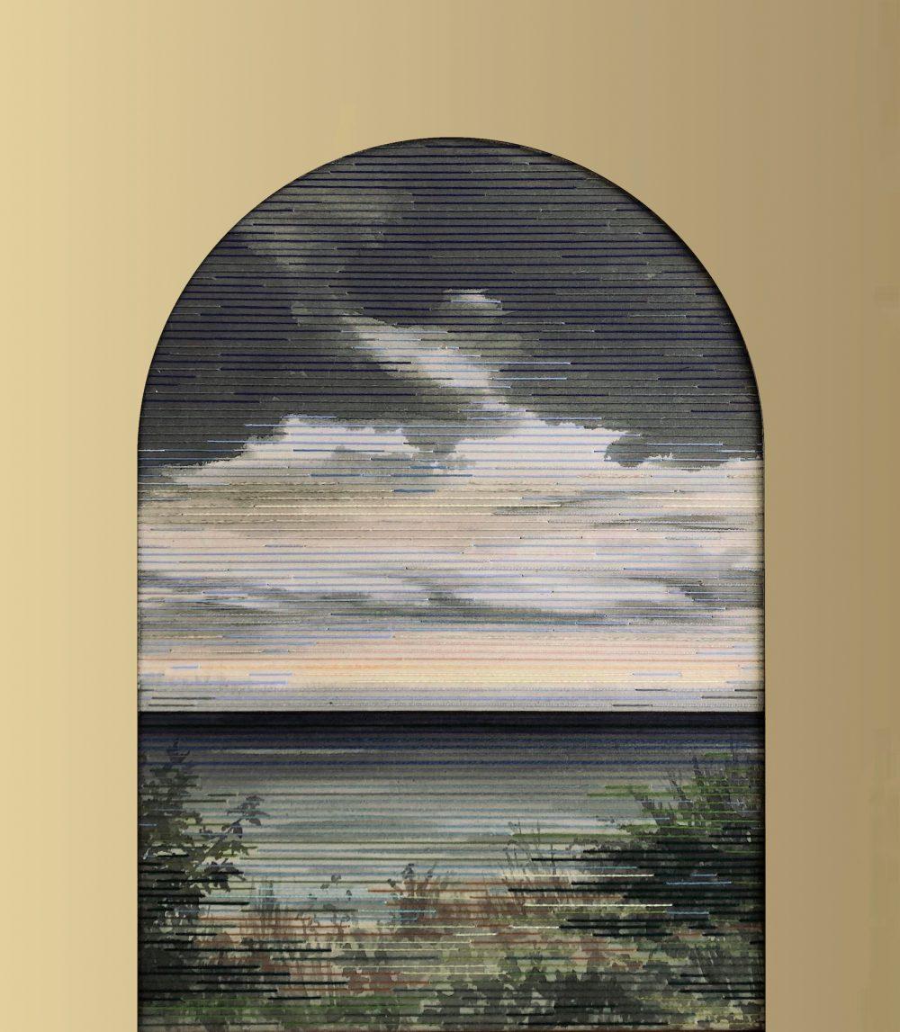 Linda Männel: Jaula d'Oro II, 2019, Tusche/Garn auf Leinwand/Acrylspeigelglas, 60 x 70 cm,
