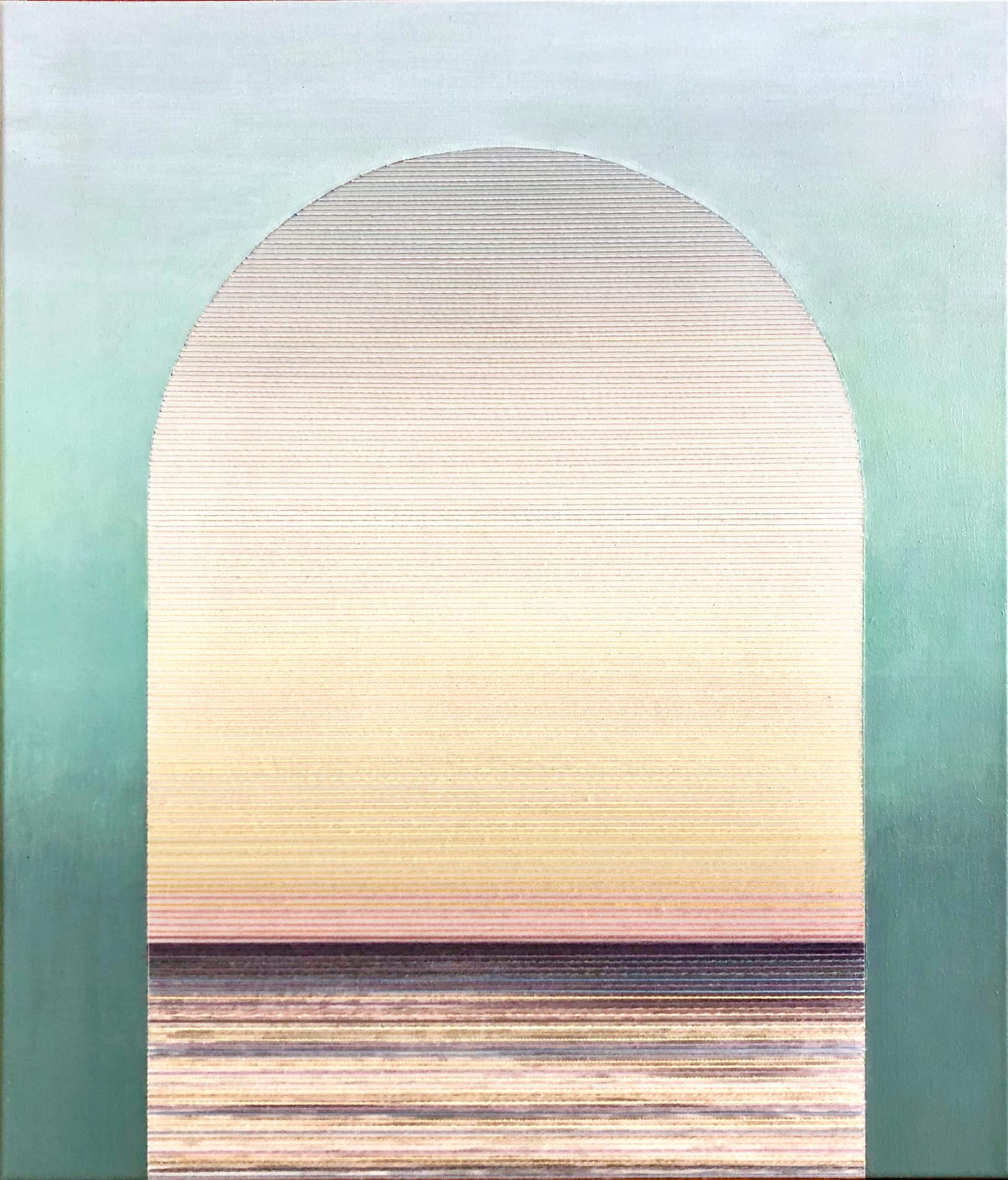 Linda Männel: Jaula d'Oro III, 2019, Tusche/Garn auf Leinwand/Acrylfarbe, 60 x 70 cm,