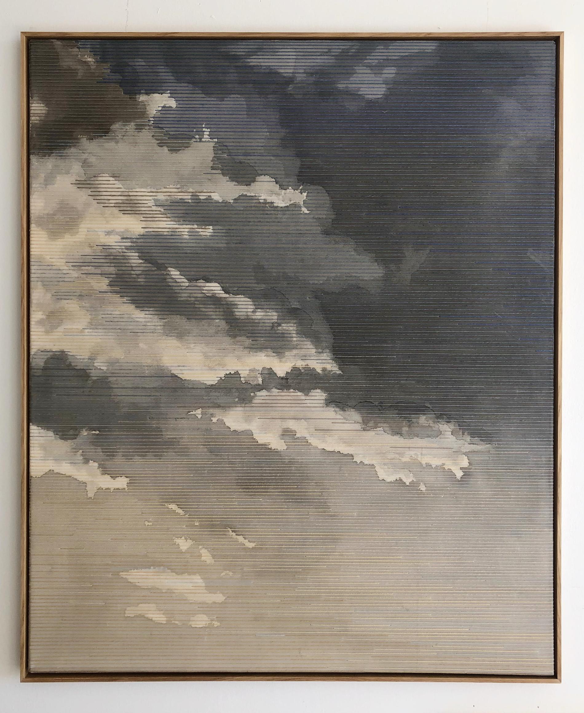 Linda Männel: Fernweh II, 2020, Tusche/Garn auf Leinwand, 100 x 130 cm