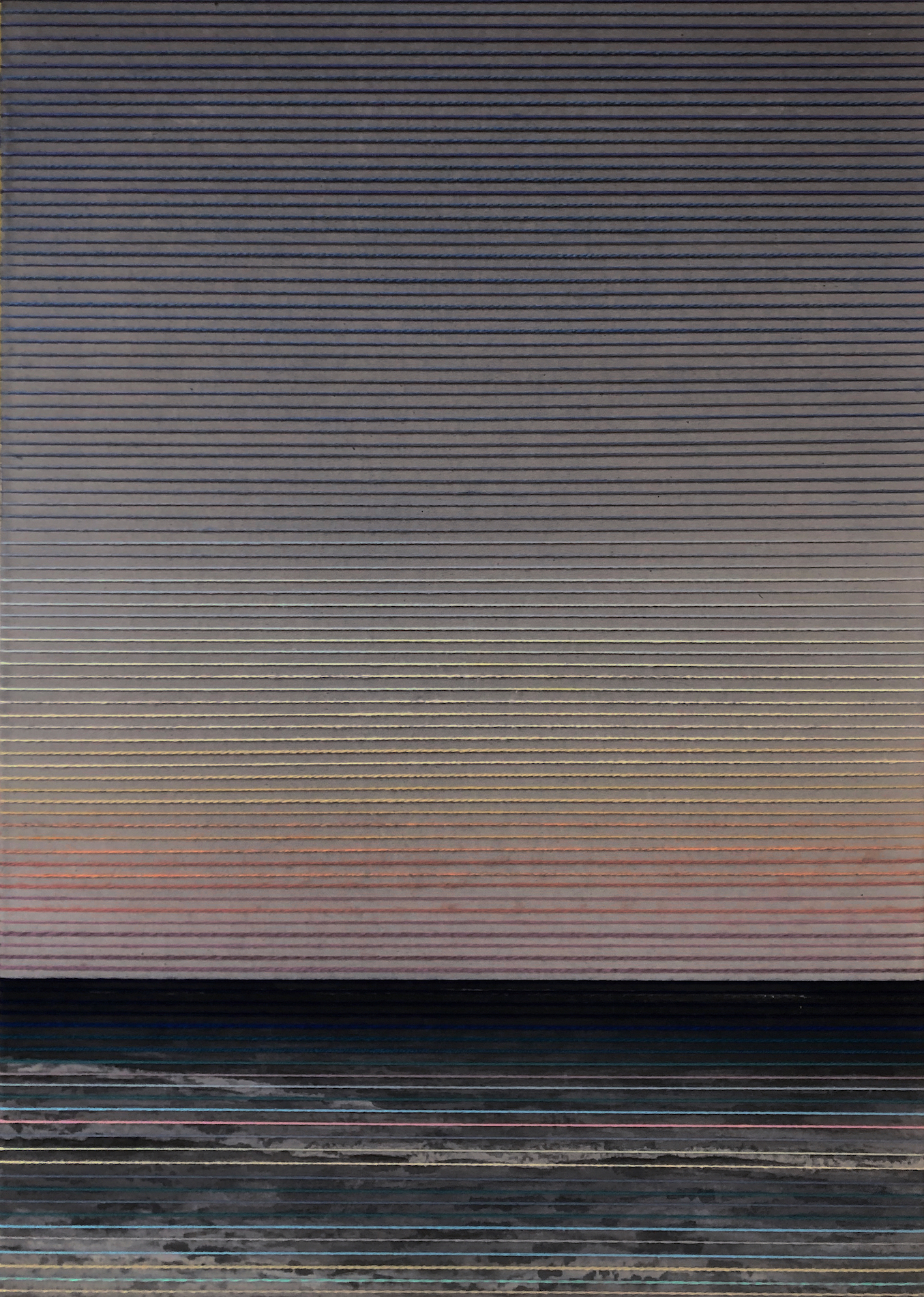 Linda Männel: o.T. (Glowing VI), 2020, Tusche/Garn auf Leinwand, 50 x 70 cm