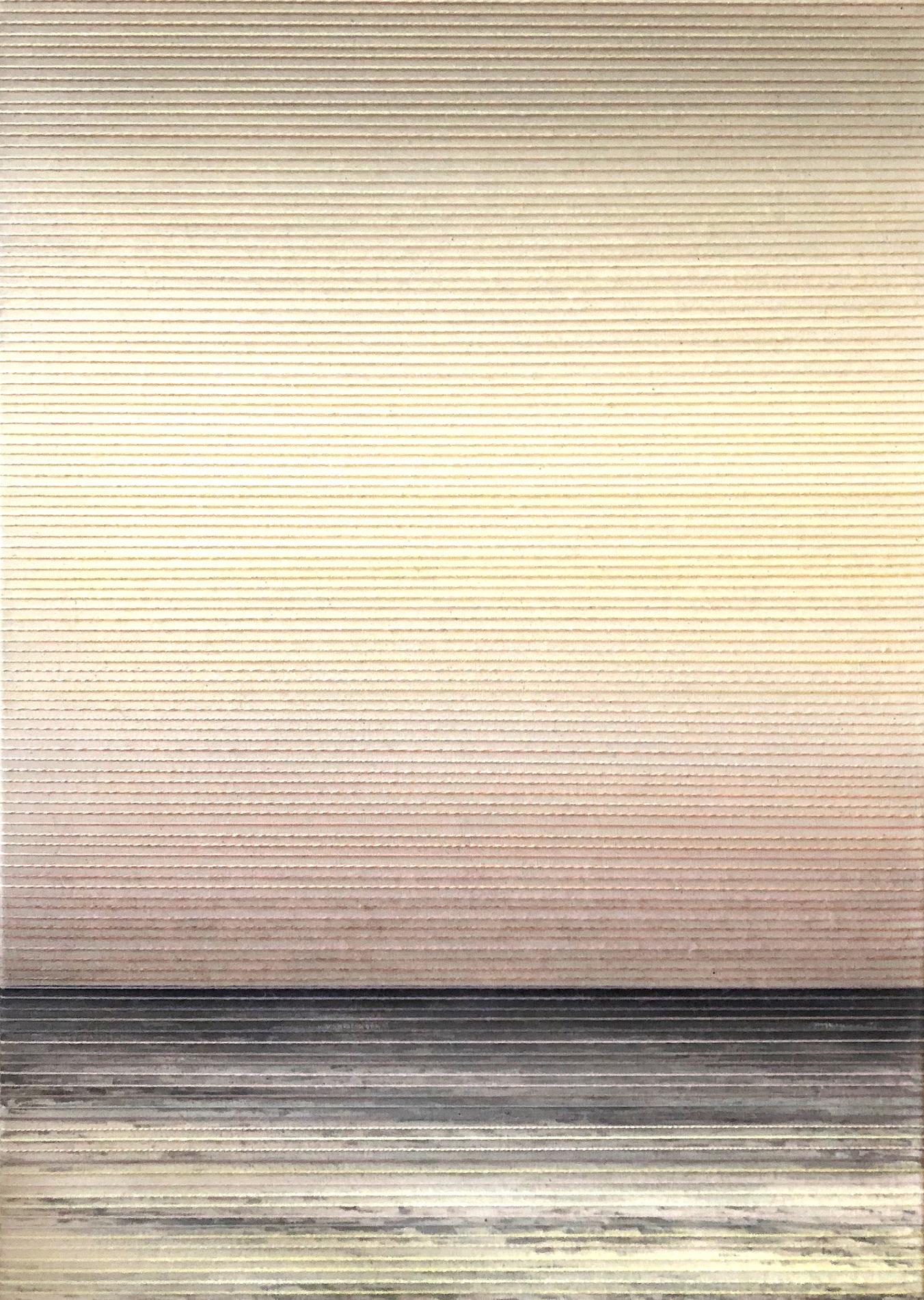 Linda Männel: o.T. (Glowing V), 2020, Tusche/Garn auf Leinwand, 50 x 70 cm