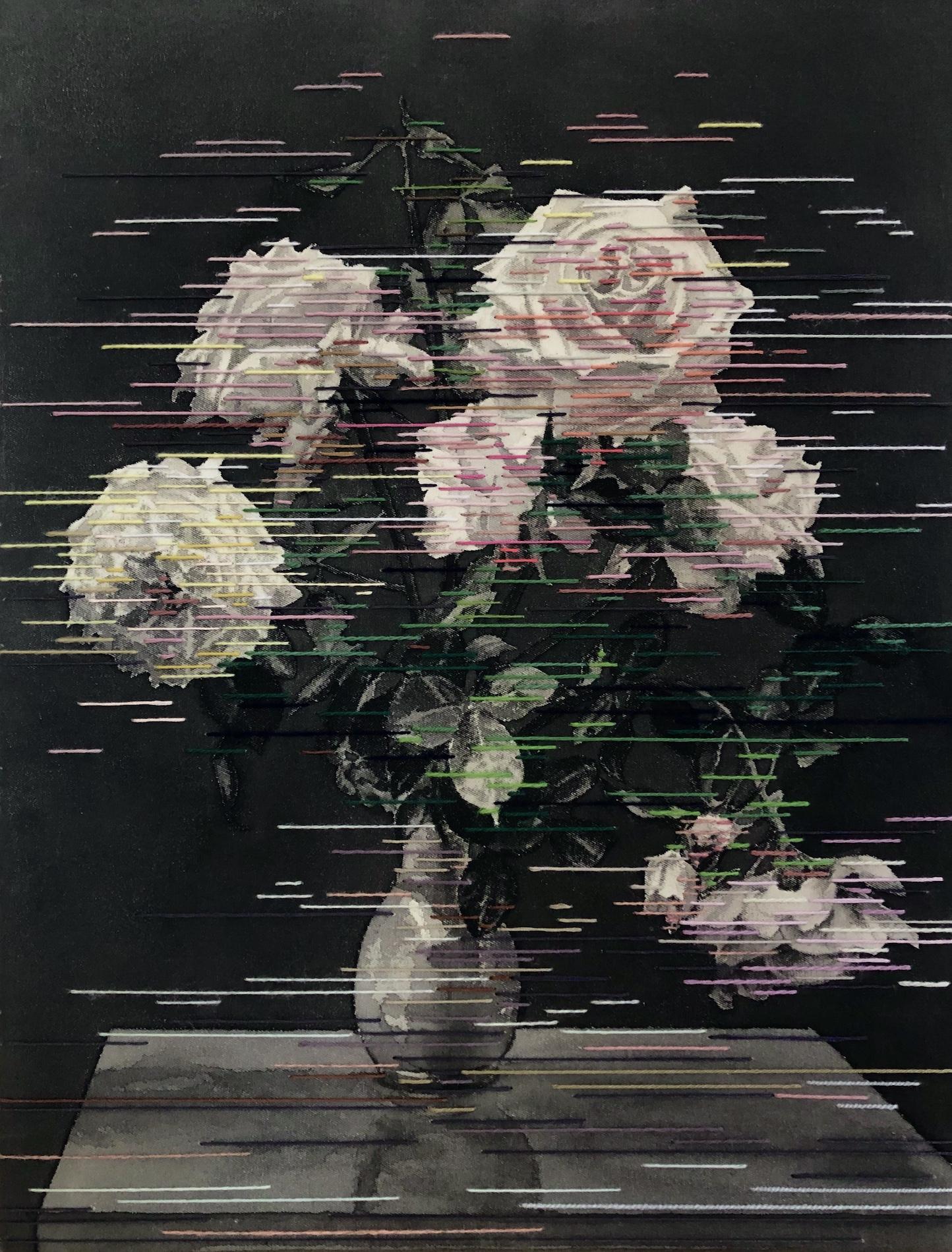 Linda Männel: Rosaceae, 2020, Tusche/Garn auf Leinwand, 40 x 52 cm