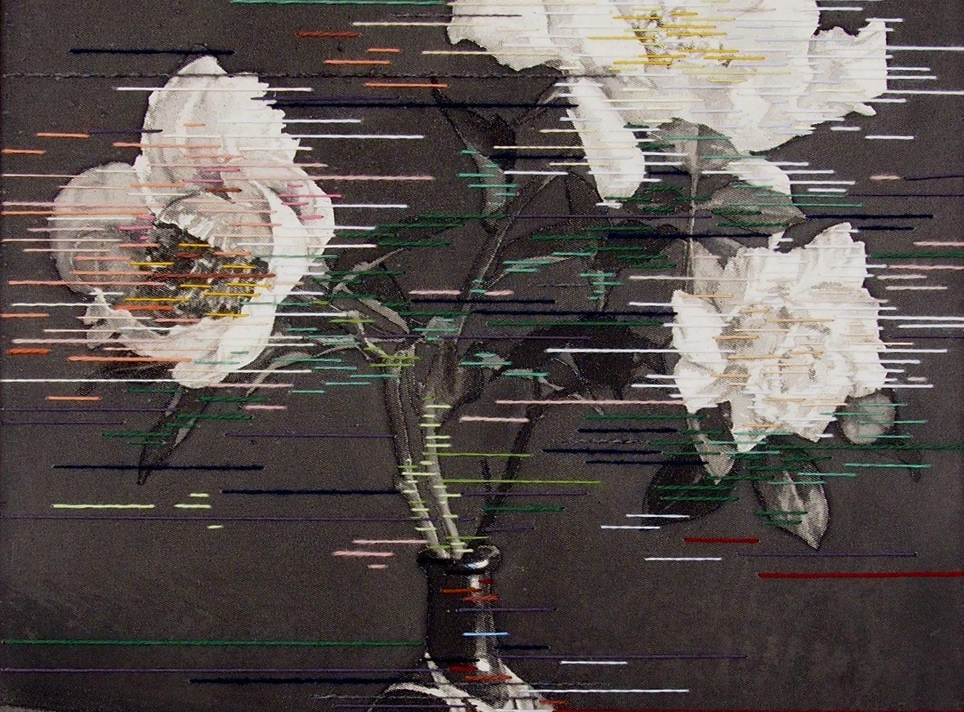 Linda Männel: Glowing in the dark, 2020, Tusche/Garn auf Leinwand, 40 x 52 cm