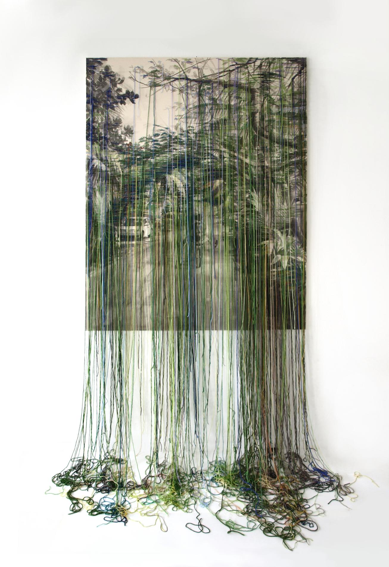 Linda Männel: Yucatan, 2017, Tusche/Garn auf Leinwand, 130 x 210 cm
