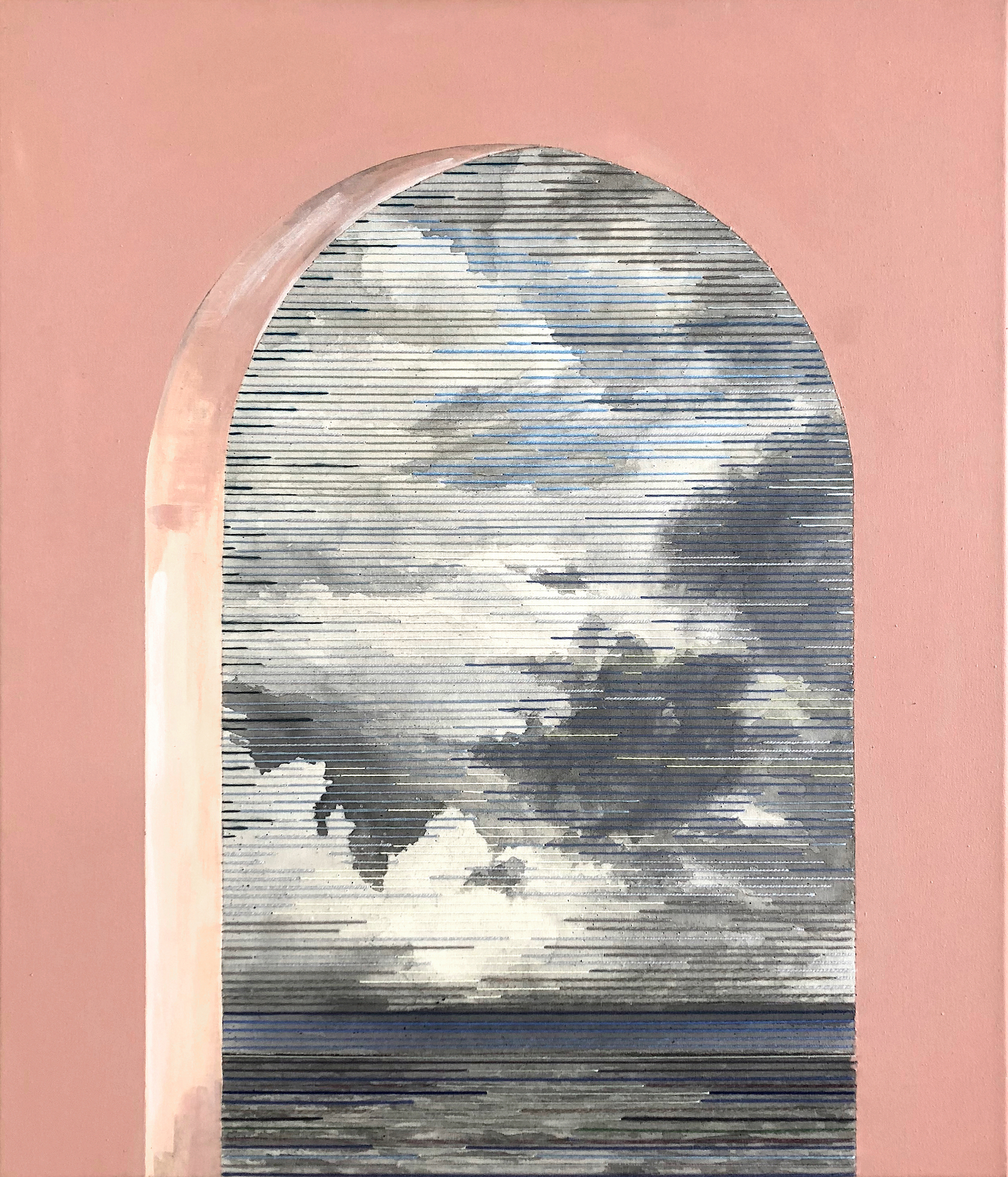 Linda Männel: Muralla roja 2019, Tusche/Garn auf Leinwand/Acrylfarbe, 60 x 70 cm