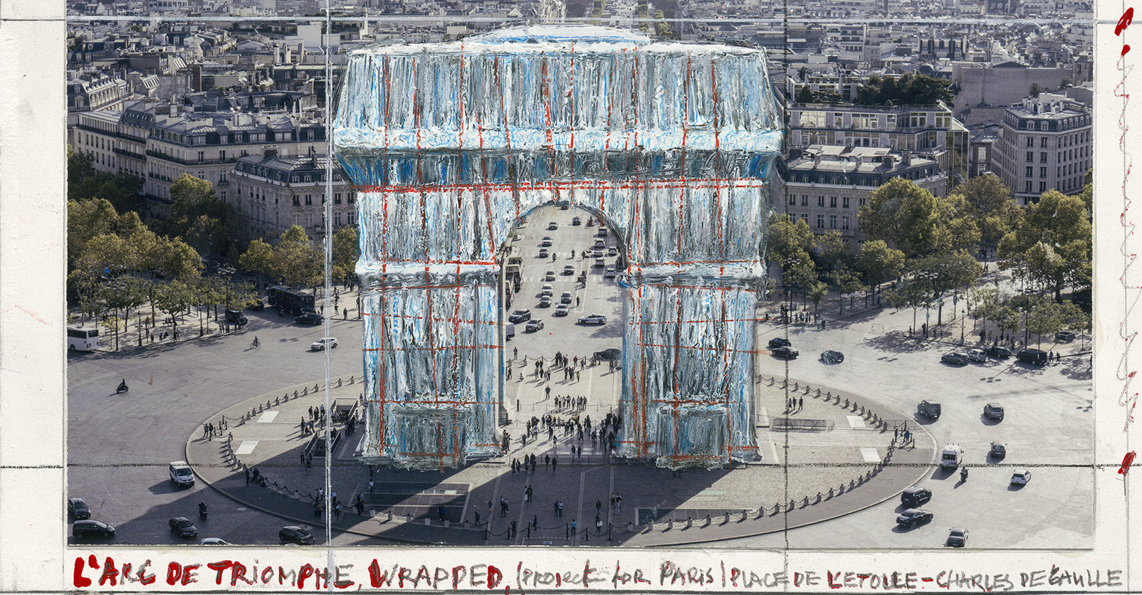 Christo und Jeanne-Claude: Arc de Triomphe (Project for Paris), Pigmentdruck auf Bütten, 50 x 40 cm, limitiert, Auflage 500 (Ausschnitt)