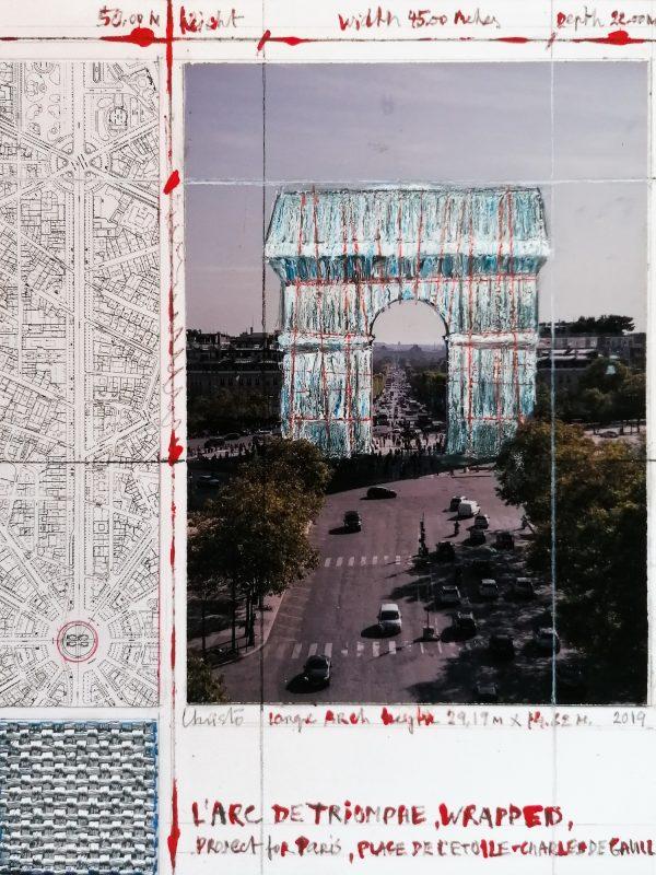 Christo und Jeanne-Claude: Arc de Triomphe II(Project for Paris), Pigmentdruck auf Bütten, 50 x 40 cm, limitiert, Auflage 500 (Ausschnitt)