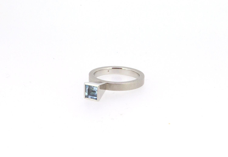 Ring Mini Caro Aquamarin 950 Platin - Georg Spreng - 404spre03-6