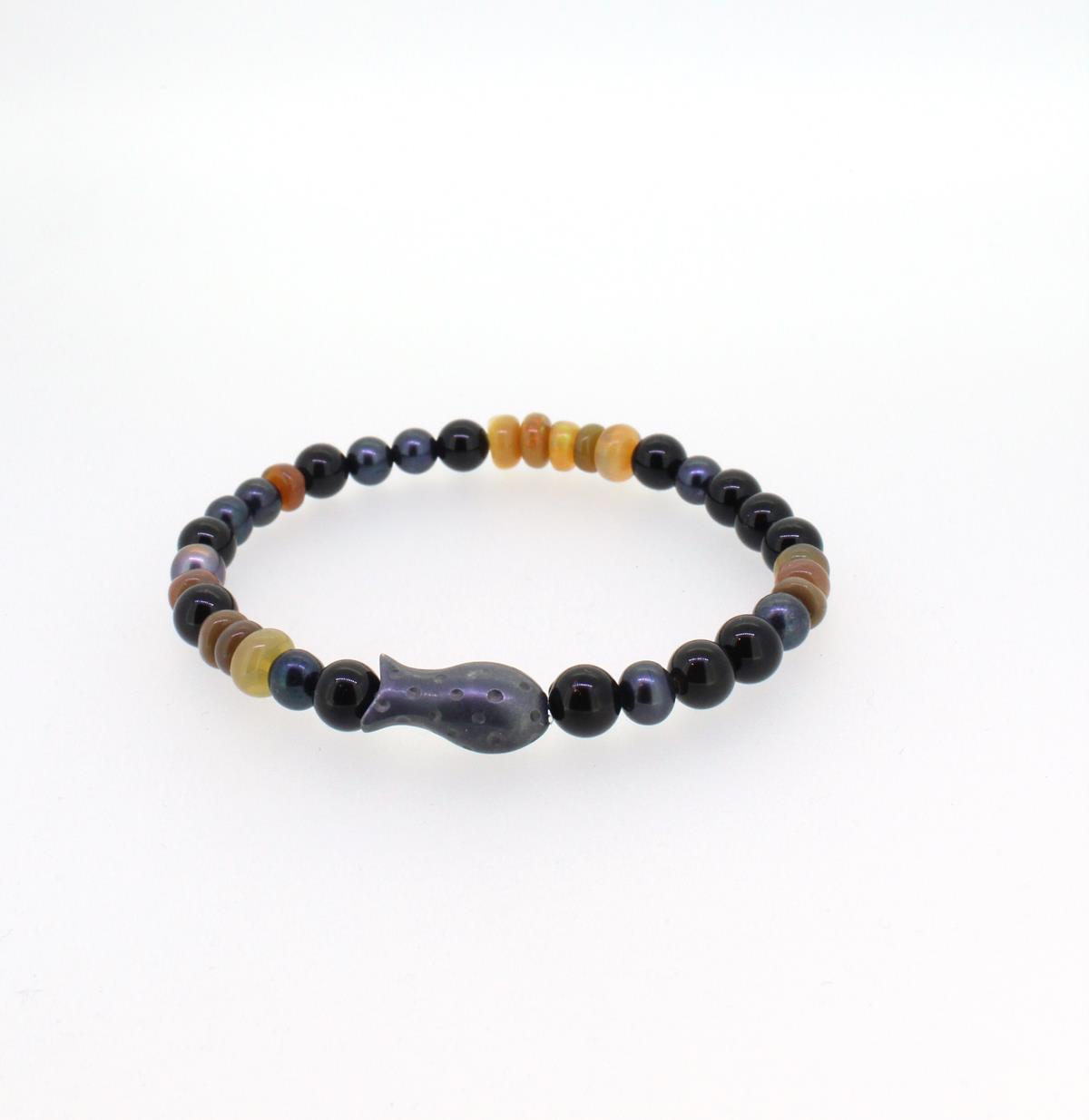 Armband Fische Silber Onyx Perlen Opal - Sabine Scheuble - f94194so