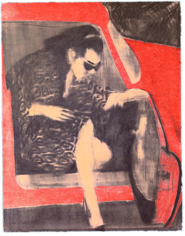 Woman leaving red car - Gill, James Francis - k-2109GIL1