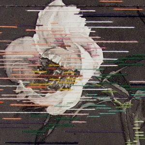 Linda Männel: Glowing in the dark, 2020, Tusche/Garn auf Leinwand, 40 x 52 cm, Detail