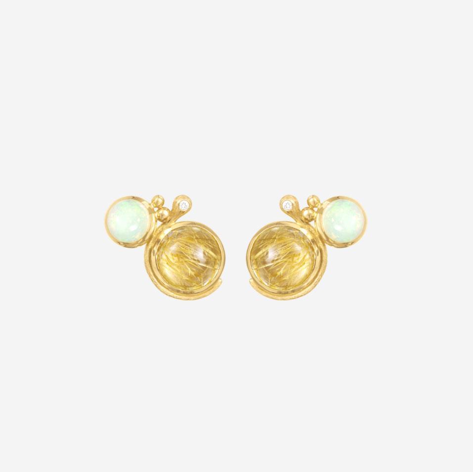 Ohrringe Lotus Opal Rutilquarz 18ct Gelbgold - Ole Lynggaard - A2932-401