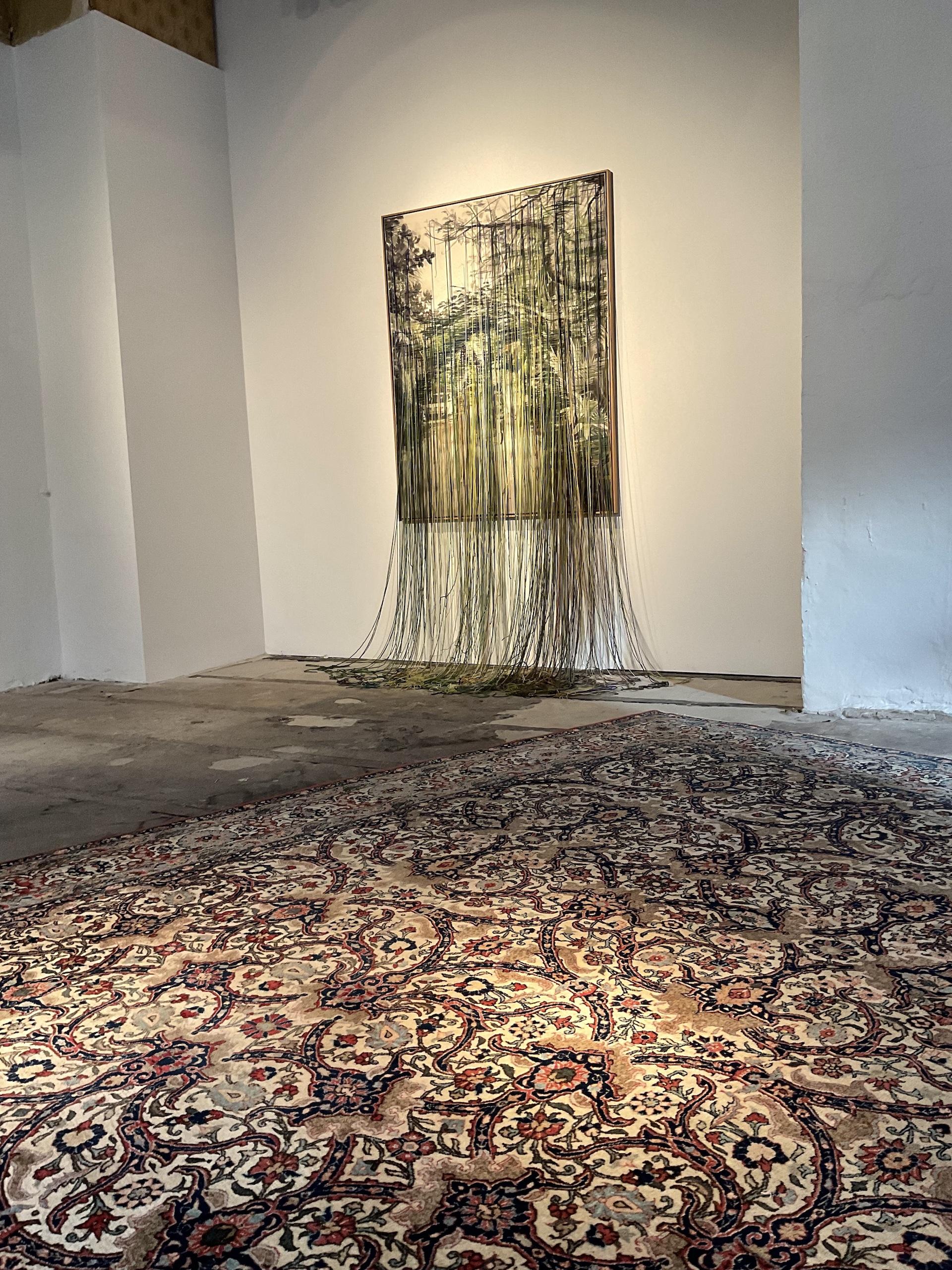 Linda Männel: Yucatan, 2017, Tusche/Garn auf Leinwand, 130 x 210 cm, Galerie Voigt Pop Up, Kunst, Nürnberg